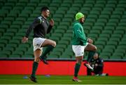 9 February 2018; Rob Kearney, left, and Bundee Aki during the Ireland Rugby Captain's Run at the Aviva Stadium in Dublin. Photo by David Fitzgerald/Sportsfile
