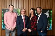 9 February 2018; The definitive GAA sports series returns to TG4 in the spring with a new hour long format. Featuring five GAA personalities whose dramatic, event packed stories demand the longer programme duration to do them justice. These Laochra radiate genuine star quality and are already celebrated as sporting legends. But the series reveals deeper, fresh and sometimes unexpected insights into the lives of these icons, their relationship to their sport and the world around them. While their sporting careers continue to provide the core narratives that have been essential to Laochra Gael's popularity down the years, this new series edges the envelope well beyond the four white lines. It's gripping personal storylines compel its viewers to travel with it towards territory unique to the GAA television landscape. Pictured are, from left, former Tipperary hurler Lar Corbett, Tyrone manager Micky Harte, Cork Camogie player Ashling Thompson, and former Meath footballer Graham Geraghty, at Croke Park in Dublin. Photo by Seb Daly/Sportsfile