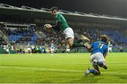 9 February 2018; James McCarthy of Ireland catches a high ball ahead of Tommaso Coppo of Italy to score his side's fourth try during the U20 Six Nations Rugby Championship match between Ireland and Italy at Donnybrook Stadium, in Dublin. Photo by Piaras Ó Mídheach/Sportsfile