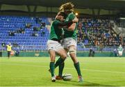 9 February 2018; James McCarthy of Ireland celebrates scoring his side's fourth try with team-mate Sean Masterson, right, during the U20 Six Nations Rugby Championship match between Ireland and Italy at Donnybrook Stadium, in Dublin. Photo by Piaras Ó Mídheach/Sportsfile