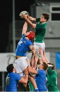 9 February 2018; Jack Dunne of Ireland wins possession in the lineout ahead of Matteo Canali of Italy during the U20 Six Nations Rugby Championship match between Ireland and Italy at Donnybrook Stadium, in Dublin. Photo by Piaras Ó Mídheach/Sportsfile