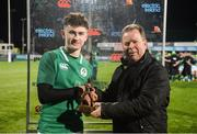 9 February 2018; James McCarthy of Ireland is presented with the Electric Ireland Player of the Match Award by Niall Dineen, Head of Commercial, Electric Ireland, after the Ireland v Italy U20 Six Nations Rugby Championship match at Donnybrook Stadium, in Dublin. Photo by Piaras Ó Mídheach/Sportsfile