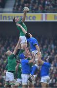 10 February 2018; Jack Conan of Ireland wins the ball in a line-out from Alessandro Zanni of Italy during the Six Nations Rugby Championship match between Ireland and Italy at the Aviva Stadium in Dublin.