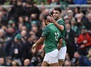 10 February 2018; Bundee Aki of Ireland, left, is congratulated by teammate Conor Murray after scoring his side's third try during the Six Nations Rugby Championship match between Ireland and Italy at the Aviva Stadium in Dublin. Photo by Seb Daly/Sportsfile
