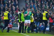 10 February 2018; Tadhg Furlong of Ireland leaves the field injured with team doctor Ciarán Cosgrave during the Six Nations Rugby Championship match between Ireland and Italy at the Aviva Stadium in Dublin.Photo by Brendan Moran/Sportsfile