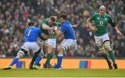 10 February 2018; Tadhg Furlong of Ireland is tackled by Abraham Steyn, left, and Sebastian Negri of Italy during the Six Nations Rugby Championship match between Ireland and Italy at the Aviva Stadium in Dublin. Photo by Seb Daly/Sportsfile