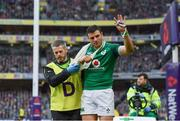 10 February 2018; Robbie Henshaw of Ireland acknowledges the supporters after leaving the field with an injury during the Six Nations Rugby Championship match between Ireland and Italy at the Aviva Stadium in Dublin. Photo by Brendan Moran/Sportsfile