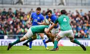10 February 2018; Mattia Bellini of Italy is tackled by CJ Stander, left, and Iain Henderson of Ireland during the Six Nations Rugby Championship match between Ireland and Italy at the Aviva Stadium in Dublin.Photo by David Fitzgerald/Sportsfile