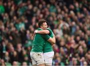 10 February 2018; Jacob Stockdale of Ireland is congratulated by teammate Joey Carbery after scoring his side's seventh try during the Six Nations Rugby Championship match between Ireland and Italy at the Aviva Stadium in Dublin. Photo by Seb Daly/Sportsfile