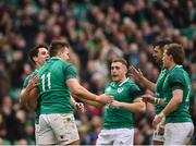 10 February 2018; Jacob Stockdale of Ireland is congratulated by teammates, from left, Joey Carbery, Jordan Larmour, Rob Kearney and Kieran Marmion after scoring his side's seventh try during the Six Nations Rugby Championship match between Ireland and Italy at the Aviva Stadium in Dublin. Photo by Seb Daly/Sportsfile
