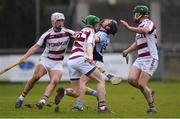 10 February 2018; Peter Casey of Na Piarsaigh in action against Paul McNeill of Slaughtneil during the AIB GAA Hurling All-Ireland Senior Club Championship Semi-Final match between Na Piarsaigh and Slaughtneil at Parnell Park in Dublin. Photo by Eóin Noonan/Sportsfile