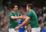 10 February 2018; Jacob Stockdale of Ireland is congratulated by team mate Joey Carbery after scoring his side's seventh try during the Six Nations Rugby Championship match between Ireland and Italy at the Aviva Stadium in Dublin. Photo by David Fitzgerald/Sportsfile