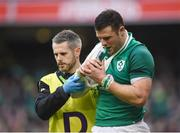 10 February 2018; Robbie Henshaw of Ireland leaves the field with team doctor Dr Ciarán Cosgrave during the Six Nations Rugby Championship match between Ireland and Italy at the Aviva Stadium in Dublin.Photo by David Fitzgerald/Sportsfile
