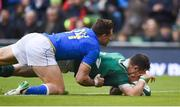 10 February 2018; Robbie Henshaw of Ireland scores his side's fifth try, while injurying himself in the process, during the Six Nations Rugby Championship match between Ireland and Italy at the Aviva Stadium in Dublin.Photo by David Fitzgerald/Sportsfile