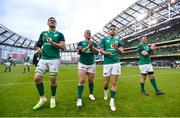 10 February 2018; Ireland players, from left, Quinn Roux, Andrew Porter, Conor Murray and Peter O'Mahony applaud the support following their side's victory in the Six Nations Rugby Championship match between Ireland and Italy at the Aviva Stadium in Dublin. Photo by David Fitzgerald/Sportsfile