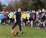 10 February 2018; parkrun participant Paul Burke, from Knocklyon, Dublin, with Poppy, pictured at the Marlay Park parkrun where Vhi hosted a special event to celebrate their partnership with parkrun Ireland. Vhi ambassador and Olympian David Gillick was on hand to lead the warm up for parkrun participants before completing the 5km free event. Parkrunners enjoyed refreshments post event at the Vhi Relaxation Area where a physiotherapist took participants through a post event stretching routine. parkrun in partnership with Vhi support local communities in organising free, weekly, timed 5k runs every Saturday at 9.30am. To register for a parkrun near you visit www.parkrun.ie. Photo by Seb Daly/Sportsfile