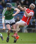 10 February 2018; Con O'Callaghan of Cuala in action against Michael Conneely of Liam Mellows during the AIB GAA Hurling All-Ireland Senior Club Championship Semi-Final match between Liam Mellows and Cuala at Semple Stadium in Thurles, Tipperary.  Photo by Matt Browne/Sportsfile