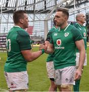 10 February 2018; CJ Stander, left, and Jack Conan of Ireland congratulate each other following their side's victory during the Six Nations Rugby Championship match between Ireland and Italy at the Aviva Stadium in Dublin. Photo by Seb Daly/Sportsfile