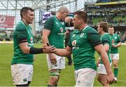 10 February 2018; Peter O'Mahony, left, and CJ Stander of Ireland congratulate each other following their side's victory during the Six Nations Rugby Championship match between Ireland and Italy at the Aviva Stadium in Dublin. Photo by Seb Daly/Sportsfile