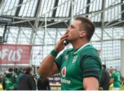 10 February 2018; CJ Stander of Ireland blows a kiss to the crowd following his side's victory during the Six Nations Rugby Championship match between Ireland and Italy at the Aviva Stadium in Dublin. Photo by Seb Daly/Sportsfile