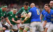 10 February 2018; Quinn Roux of Ireland is tackled by Sergio Parisse of Italy during the Six Nations Rugby Championship match between Ireland and Italy at the Aviva Stadium in Dublin. Photo by Brendan Moran/Sportsfile