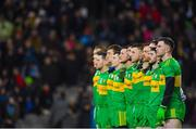 10 February 2018: Patrick McBrearty of Donegal lines up alongside his team-mates for the national prior to the Allianz Football League Division 1 Round 3 match between Dublin and Donegal at Croke Park in Dublin. Photo by Brendan Moran/Sportsfile