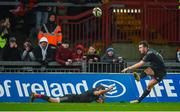10 February 2018; JJ Hanrahan of Munster kicks a conversion with the assistance of team-mate Duncan Williams during the Guinness PRO14 Round 14 match between Munster and Zebre at Thomond Park in Limerick. Photo by Diarmuid Greene/Sportsfile