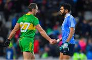 10 February 2018: Michael Murphy of Donegal, left, shakes hands with Cian O'Sullivan of Dublin after the Allianz Football League Division 1 Round 3 match between Dublin and Donegal at Croke Park in Dublin. Photo by Brendan Moran/Sportsfile
