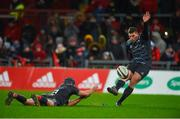 10 February 2018; Ian Keatley of Munster kicks a conversion with the assistance of team-mate Duncan Williams during the Guinness PRO14 Round 14 match between Munster and Zebre at Thomond Park in Limerick. Photo by Diarmuid Greene/Sportsfile
