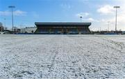 11 February 2018; A general view of snow on the pitch in Grattan Park prior to the Allianz Football League Division 1 Round 3 match between Monaghan and Kerry at Páirc Grattan in Inniskeen, Monaghan. Photo by Brendan Moran/Sportsfile