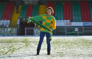 11 February 2018; Kerry supporter Emer Hogan, from Tralee, on the pitch in Grattan Park after the Allianz Football League Division 1 Round 3 match between Monaghan and Kerry at Páirc Grattan in Inniskeen, Monaghan, was called off. Photo by Brendan Moran/Sportsfile