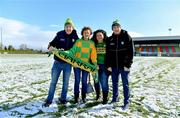 11 February 2018; Kerry supporters, from left, John Creedon, from Killarney, Emer Hogan, from Tralee, Karen Hurley, from Tralee, and Donal McCarthy, from Coom, on the pitch in Grattan Park after the Allianz Football League Division 1 Round 3 match between Monaghan and Kerry at Páirc Grattan in Inniskeen, Monaghan, was called off. Photo by Brendan Moran/Sportsfile