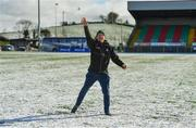 11 February 2018; Kerry supporter Donal McCarthy, from Killarney, throws snowballs on the pitch after the Allianz Football League Division 1 Round 3 match between Monaghan and Kerry at Páirc Grattan in Inniskeen, Monaghan, was called off. Photo by Brendan Moran/Sportsfile