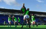 11 February 2018; Orla Fitzsimons of Ireland warms up with team mate Claire Molloy prior to the Women's Six Nations Rugby Championship match between Ireland and Italy at Donnybrook Stadium in Dublin. Photo by David Fitzgerald/Sportsfile