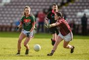 11 February 2018; Niamh Kelly of Mayo in action against Fabienne Cooney of Galway during the Lidl Ladies Football National League Division 1 Round 3 match between Galway and Mayo at Pearse Stadium in Galway. Photo by Diarmuid Greene/Sportsfile