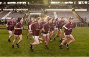 11 February 2018; The Galway team make their way out for the Lidl Ladies Football National League Division 1 Round 3 match between Galway and Mayo at Pearse Stadium in Galway. Photo by Diarmuid Greene/Sportsfile