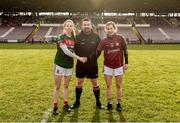 11 February 2018; Mayo captain Sarah Tierney and Galway captain Tracey Leonard exchange a handshake in the company of referee Seamus Mulvihill prior to the Lidl Ladies Football National League Division 1 Round 3 match between Galway and Mayo at Pearse Stadium in Galway. Photo by Diarmuid Greene/Sportsfile