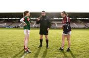 11 February 2018; Referee Seamus Mulvihill performs the coin-toss in the company of Mayo captain Sarah Tierney and Galway captain Tracey Leonard prior to the Lidl Ladies Football National League Division 1 Round 3 match between Galway and Mayo at Pearse Stadium in Galway. Photo by Diarmuid Greene/Sportsfile