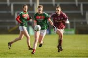 11 February 2018; Aileen Gilroy of Mayo in action against Aine McDonagh of Galway during the Lidl Ladies Football National League Division 1 Round 3 match between Galway and Mayo at Pearse Stadium in Galway. Photo by Diarmuid Greene/Sportsfile