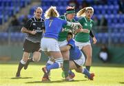 11 February 2018; Lindsay Peat of Ireland is tackled by Melissa Bettoni, left, and Ilaria Arrighetti of Italy during the Women's Six Nations Rugby Championship match between Ireland and Italy at Donnybrook Stadium in Dublin. Photo by David Fitzgerald/Sportsfile
