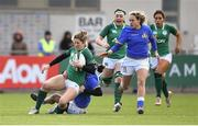 11 February 2018; Alison Miller of Ireland is tackled by Michela Sillari of Italy before being stretchered off due to an injury during the Women's Six Nations Rugby Championship match between Ireland and Italy at Donnybrook Stadium in Dublin. Photo by David Fitzgerald/Sportsfile