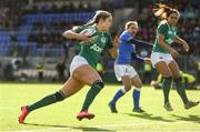 11 February 2018; Megan Williams of Ireland runs in to score her side's first try during the Women's Six Nations Rugby Championship match between Ireland and Italy at Donnybrook Stadium in Dublin. Photo by David Fitzgerald/Sportsfile
