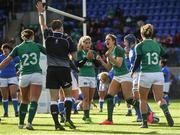 11 February 2018; Megan Williams of Ireland celebrates after scoring her side's first try during the Women's Six Nations Rugby Championship match between Ireland and Italy at Donnybrook Stadium in Dublin. Photo by David Fitzgerald/Sportsfile
