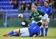 11 February 2018; Niamh Briggs of Ireland is tackled by Ilaria Arrighetti, left, and Lucia Gai of Italy during the Women's Six Nations Rugby Championship match between Ireland and Italy at Donnybrook Stadium in Dublin. Photo by David Fitzgerald/Sportsfile