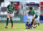 11 February 2018; Lindsay Peat of Ireland offloads the ball to Megan Williams as she is tackled by Michela Sillari of Italy during the Women's Six Nations Rugby Championship match between Ireland and Italy at Donnybrook Stadium in Dublin. Photo by David Fitzgerald/Sportsfile
