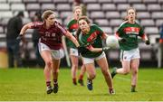 11 February 2018; Roisin Flynn of Mayo in action against Mairead Seoighe of Galway during the Lidl Ladies Football National League Division 1 Round 3 match between Galway and Mayo at Pearse Stadium in Galway.  Photo by Diarmuid Greene/Sportsfile