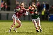 11 February 2018; Olivia Divilly of Galway in action against Shauna Howley of Mayo during the Lidl Ladies Football National League Division 1 Round 3 match between Galway and Mayo at Pearse Stadium in Galway.  Photo by Diarmuid Greene/Sportsfile