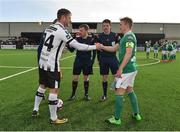 11 February 2018; Captains Dane Massey of Dundalk, left, and Conor McCormack of Cork City shake hands prior to the President's Cup match between Dundalk and Cork City at Oriel Park in Dundalk, Co Louth. Photo by Seb Daly/Sportsfile