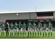 11 February 2018; Cork City players during the national anthem prior to the President's Cup match between Dundalk and Cork City at Oriel Park in Dundalk, Co Louth. Photo by Seb Daly/Sportsfile