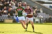 11 February 2018; Eamon Branigan of Galway in action against Aidan O'Shea of Mayo during the Allianz Football League Division 1 Round 3 match between Galway and Mayo at Pearse Stadium in Galway. Photo by Diarmuid Greene/Sportsfile